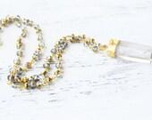 Raw Crystal Necklace, Bohemian Jewelry, Long Quartz Crystal Necklace, Crystal Rosary Necklace, Rosary Jewelry