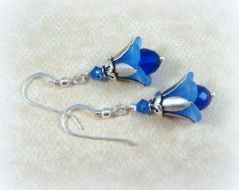 Blue Flower Earrings, Glass Flower Earrings, Cobalt and Sapphire Flower Earrings, Glass & Acrylic Earrings, Blue and Silver Flower Earrings