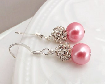 Pink Pearl Bridal Earrings, Drop Pearl Earrings Earrings, Pink Pearl Earrings, Bridal Jewelry, Bridesmaid Earrings