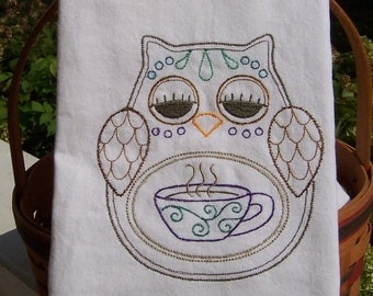 Embroidered Tea Towel/ Kitchen Dish Towel Ohli Coffee Cup Owl