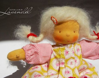 SALE  Daisy Waldorf Inspired Doll OOAK Doll with 7 Ppieces of Clothing by Atelier Lavendel 13in, Cloth Doll with Wardrobe, ECO freindly