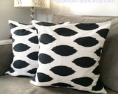 Two Pillow Covers - Charcoal Gray and White Ikat Fabric Pillow Covers - Pillow Cover Shams - Decorator Pillows - Accent Throw Toss Pillows