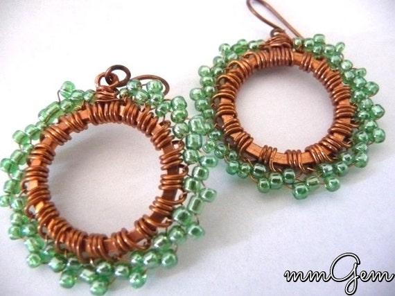 Mint copper earrings, mint earrings, copper earrings, wire wrapped earrings, wire work earrings, beaded earrings, spring green earrings,