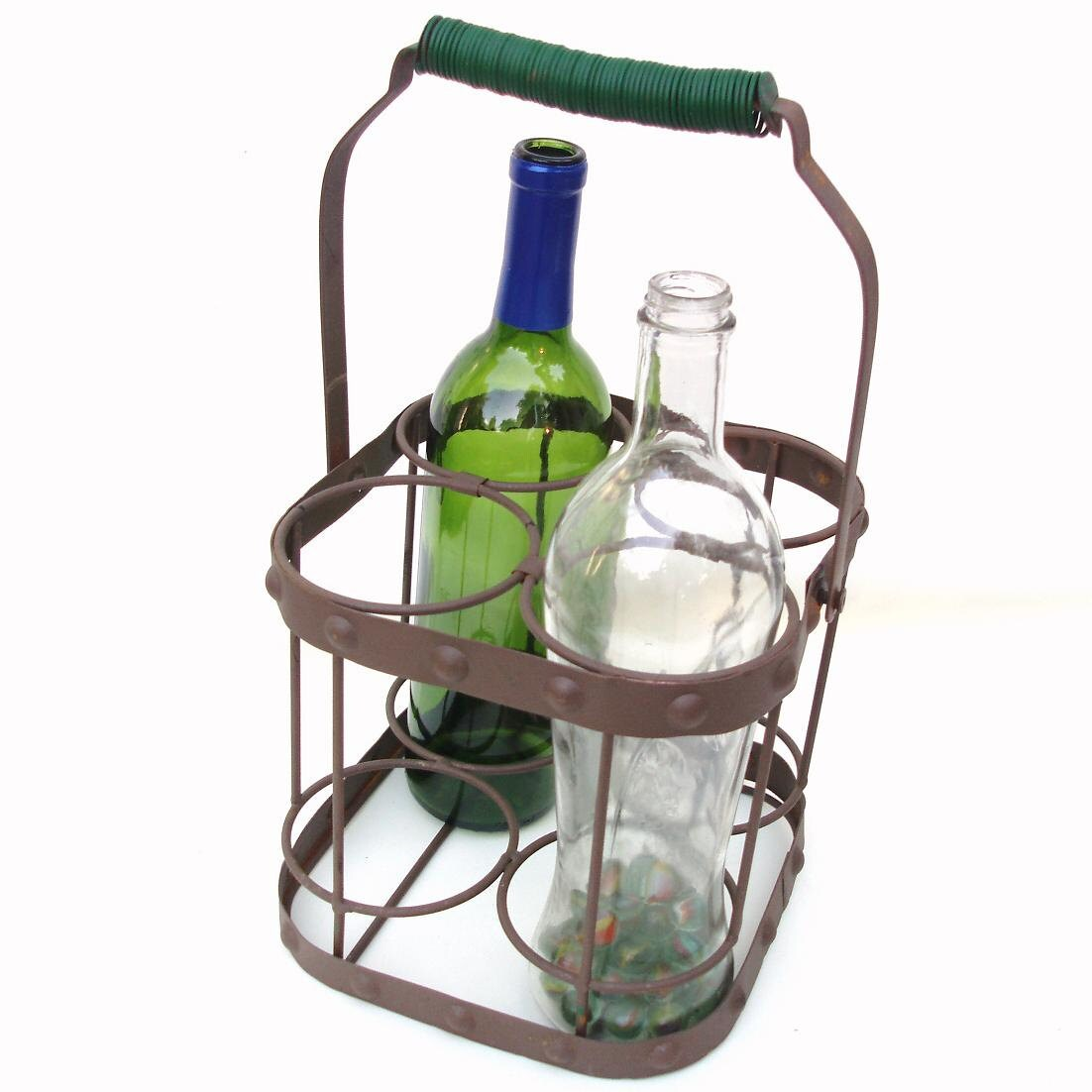Vintage wine bottle carrier iron metal bottle caddy by whimzythyme - Wire wine bottle carrier ...