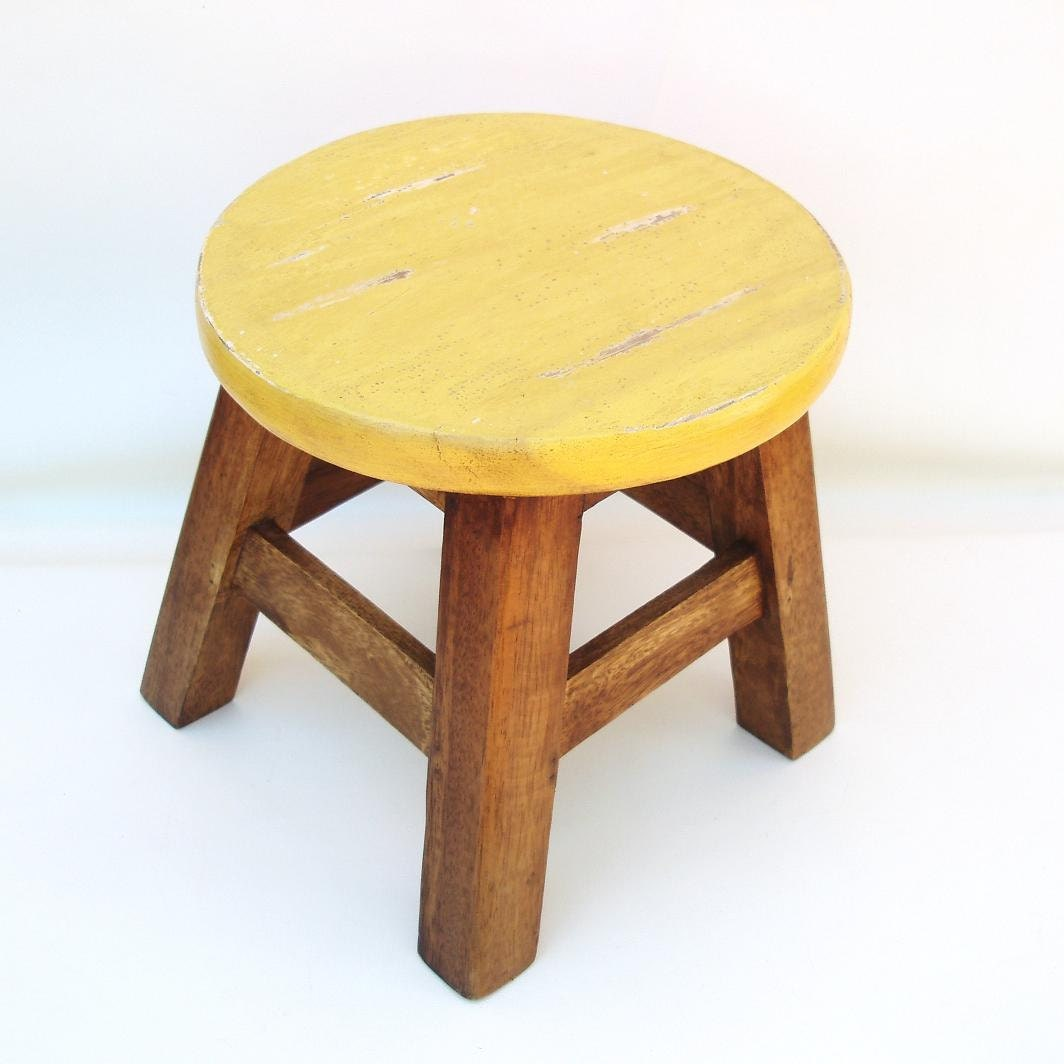 Vintage wooden step stool round foot bench wood child