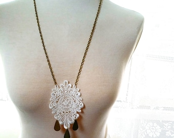 Lace Necklace Long brass and white lace Necklace Fabric Statement Jewelry white Lace medallion tear drop charm Modern jewelry boho OOAK