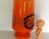 Leo The Lion Vintage Glass Vase Zodiac Mod Orange