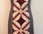 Denim & Batik Roll Collar Sheath Dress, size Medium (8)
