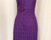Purple Eyelet Scoopneck Fitted Cocktail Sheath Dress, size Small (6)