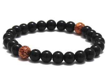 Men Beaded Bracelet, Palm Wood Bracelet Onyx Protection Gemstone Jewelry Birthday Gift for Him Under 30, Boyfriend Mala Beads, Worry Beads