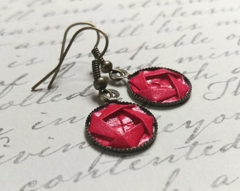 Origami Camellia Dangle Earrings //  Bright Red