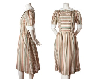 1970s romantic striped dress with lace collar and sleeves -- vintage peasant dress --- boho dress -- size medium / large