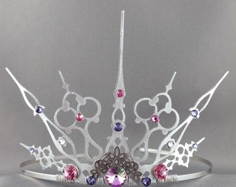 Gothique Princess - Silver Tiara Princess Crown Princess Tiara Pink and Purple Crown Pink Tiara Filigree Crown Fairy Tiara Fairy Crown