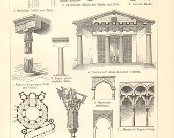 1903 Vintage Print of Architectural Styles, Ancient Egyptian, Byzantine, Moorish, Romanesque, Gothic and Renaissance Architecture