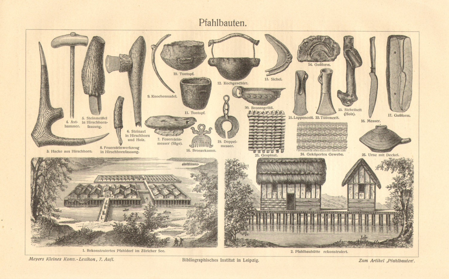 1909 Neolithic and Bronze Age Stilt Houses Lake Dwellings