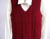 Knit Vest, Sweater Vest, Cable Knit Vest, Burgundy Vest