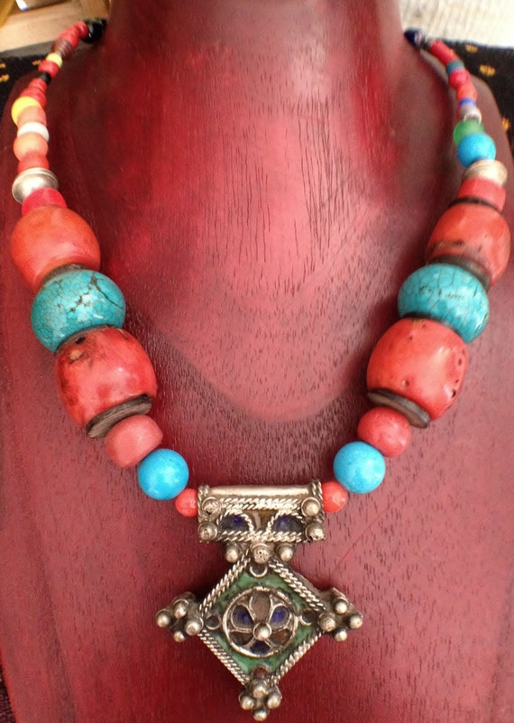 Beautiful Berber Cross Necklace with Coral and Turquoise Beads