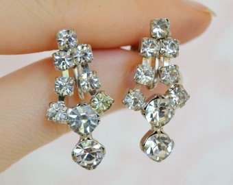 Vintage Screw Back Earrings with Dangling Clear Rhinestones