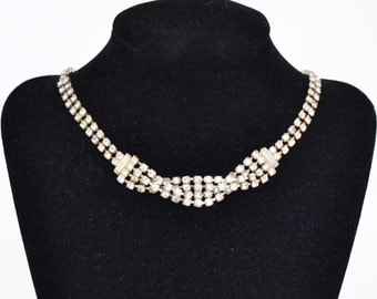 Vintage Rhinestone Necklace with Woven Center