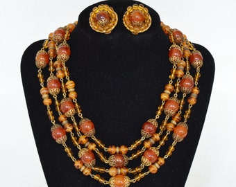 Vintage Necklace and Clip-On Earring Set with Amber Beads by Freirich
