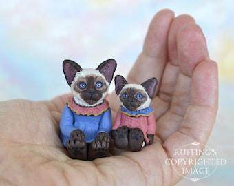 Cat Art Dolls, OOAK Original Siamese Kittens, Miniature Hand Painted Folk Art Figurine Sculpture, Dana and Dixie by Max Bailey