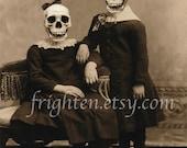 Creepy Art Print, Halloween Decor, Skeleton Art, Mixed Media Collage, Halloween Wall Art, Horror Art