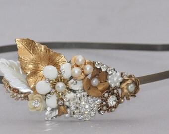TRUE Vintage Collage Bridal Headband,Ivory Rhinestone & Pearl Headband,Bridal Headpiece,Flower,Floral,Woodland,Repurposed Upcycled Costume