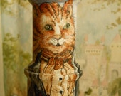 Hand Painted Papa Cat and Kitten Spool Doll Original OOAK Spool Doll on Vintage Wooden Spools Collectible Art Dolls and Minatures