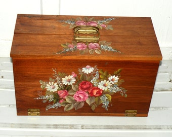Keepsake Memory Box Hand Painted Wood Box Folk Art Box Shabby Chic Wood Box Mini Storage Chest Cottage Wood Decor Victorian Rustic Farmhouse