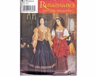 Renaissance Costume lady & her maid Tudor Sizes 10 12 14 Bust 32 1/2 34 36  Elizabethan dress costume UNCUT sewing pattern Simplicity 8715