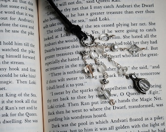 Fantasy Claw Bookmark Beaded Leather Book Thong Black Silver Glass Beads