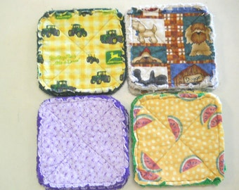 Pair of Rag Quilted Fabric Pot Holders 4 prints to choose from (Group D) John Deere, Dogs, Lavender, Watermelon