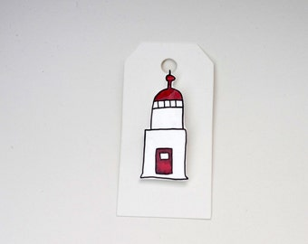 Lighthouse Pin, Shrink Plastic Lighthouse Brooch, Shrinky Dinks Pin, Trinidad Lighthouse