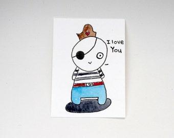 Pirate ACEO Trading Card, Kawaii Pirate Card, Art Collectors, Cute Pirate, I love you Pirate