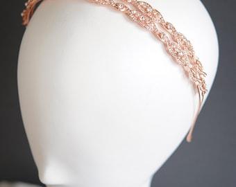 Vintage Style Rose Gold Wedding Headband, Oval Rhinestone Bridal Headband, Swarovski Pearl Hair Accessories, Bridal Tiara Crown, GABRIELLE