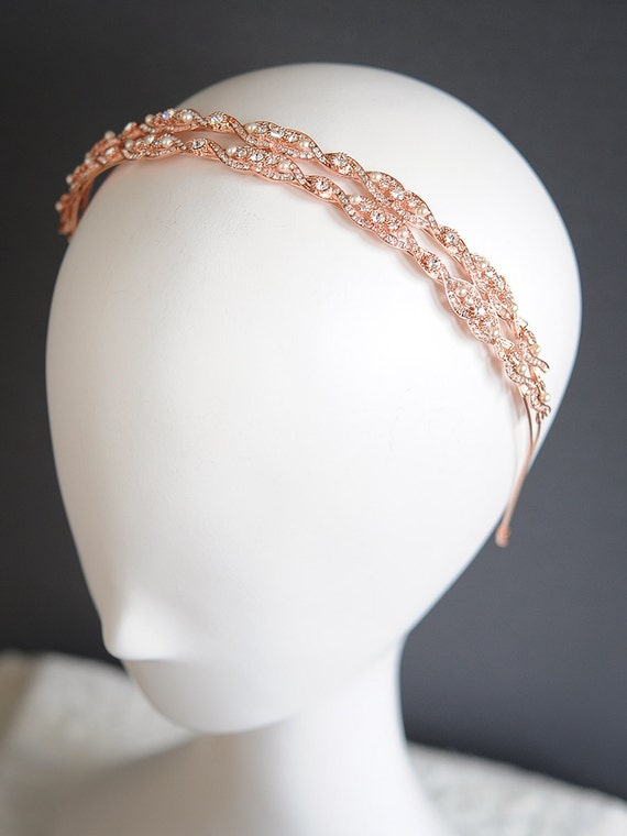 Vintage Style Rose Gold Wedding Headband Oval Rhinestone