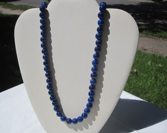 Beautiful Lapis Lazuli Glass Bead Necklace