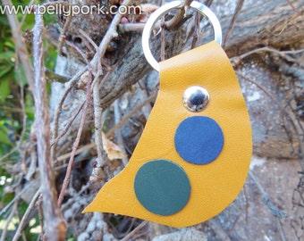 Leather keychain, yellow keychain, kawaii keychain, circles keychain, circles keyring,yellow leather,yellow leather, green leather