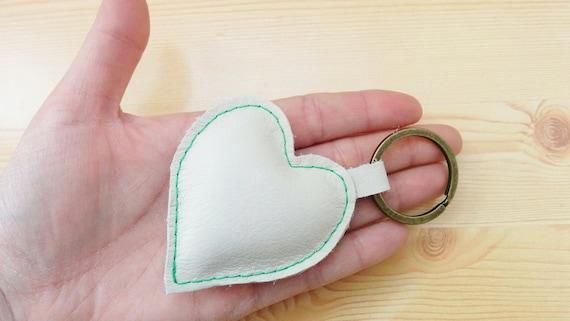 Heart keychain, heart keyring, leather keychain, leather keyring, white heart keychain,white heart keyring,white heart leather,leather heart
