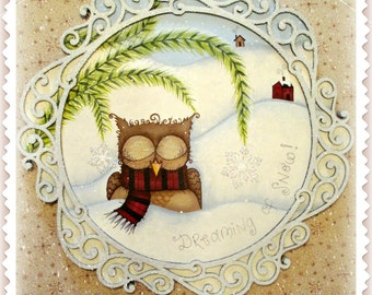 E-PATTERN - Dreaming of Snow! Sweet Little Owl Loves the Snow!! Designed & Painted by Sharon Bond - FAAP
