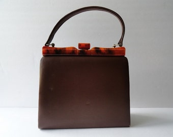VINTAGE 1950s TORTOISESHELL AND Brown Vinyl Purse| Vintage Top handle Handbag Lucite Trim
