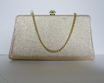 Vintage 60s Gold Lame Evening Bag|Evening Purse Gold lame|Vintage Gold Lame Chain Purse|Vintage Gold lame Clutch Bag