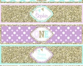 One First Birthday girl  Lavender  mint gold PRINTABLE Water Bottle Labels  chevron polka dot glitter 1st birthday - 1034