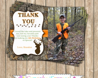 Camo Boy Hunting Birthday Party  PRINTABLE Thank You Card 5x7  camouflage orange realtree