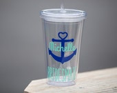 Anchor tumbler, 1 bridesmaids gift, nautical themed wedding or Bachelorette favor. Heart anchor glasses, beach or pool cups. Bridesmate idea
