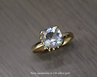 Darcy Ring, aquamarine 1.75ct cushion prong silver gold solitaire MARCH BIRTHDAY