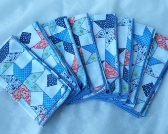 Set of Eight Napkins Patchwork Design Cloth Napkins