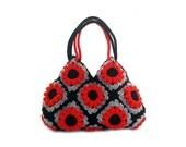 Granny crochet red flower handbag, crochet hand bag, shoulder bag
