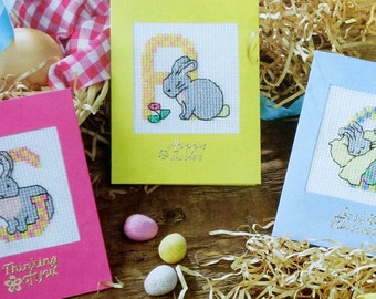 Counted Cross Stitch Pattern BUNNIES ABC Rabbits ALPHABET Easter Charts - fam