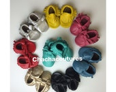 WHOLESALE LOT of 5 pairs 100% genuine leather baby moccasins Mocs moccs tassel